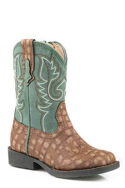 Roper TODDLER Baby Boys Girls Brown Green Gator Vamp Leather Zip Up Cowboy Boots