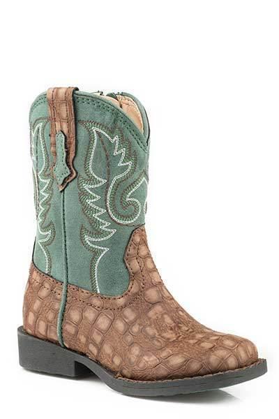 Roper TODDLER Baby Boys Girls Marronee verde Gator Vamp Leather Zip Up Cowboy stivali