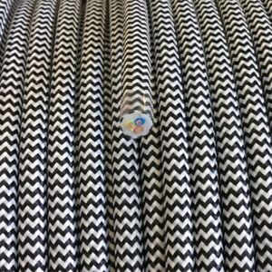 3x0,75 Câble Textile, La Direction De Fibres Textiles Tressage, Ronds, Zigzag-zack Noir Et Blanc-afficher Le Titre D'origine Zjwuvm1l-07161725-698389476