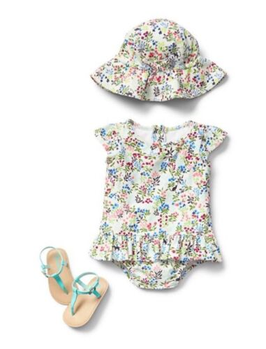 GAP Baby Toddler Girl 18-24 Months NWT White Floral Peplum Ruffle Bathing Suit