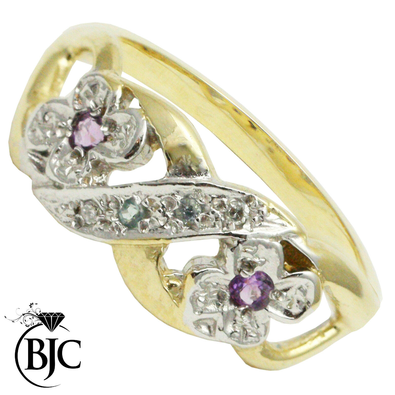 BJC® 9ct Yellow gold Amethyst bluee topaz & Diamond Cluster Flower ring R266