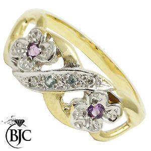 Bjc-9CT-Oro-Amarillo-con-Amatista-Topacio-Azul-amp-Racimo-de-Diamantes-Anillo-Flor