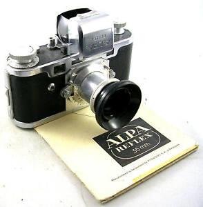 Vintage-1940-039-s-ALPA-REFLEX-II-w-ALFINON-5cm-1-2-8-Lens-and-Instructions