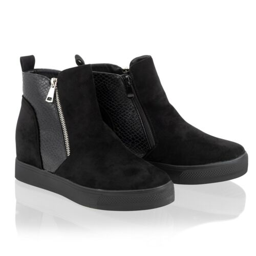 Womens Ladies Wedge Ankle Boots Hidden Concealed Heel Black Trainers Shoes Size