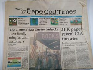 CAPE-COD-TIMES-MA-NEWSPAPER-Aug-24-1993-CLINTON-039-S-First-Family-JFK-CIA-THEORIES
