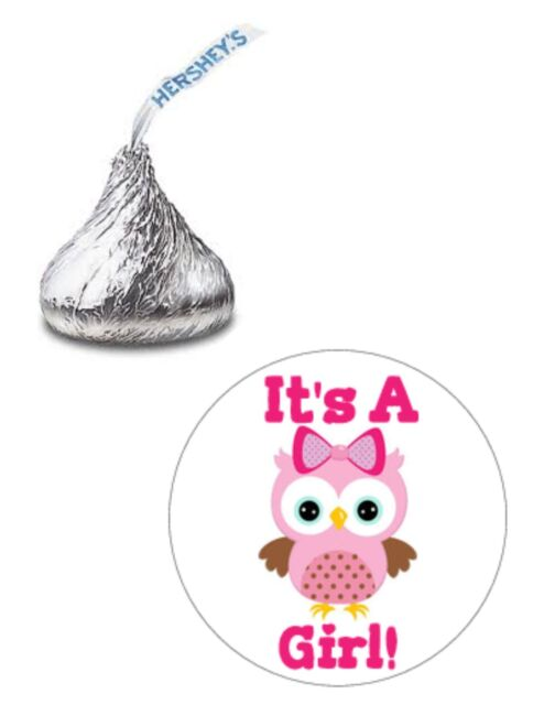 216 ITS A GIRL PINK OWL BABY SHOWER HERSHEY KISS KISSES CANDY STICKERS **