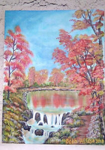 Original-Acrylic-Painting-9-x-12-Canvas-Panel-Fall-Autumn-by-the-Lake-Art