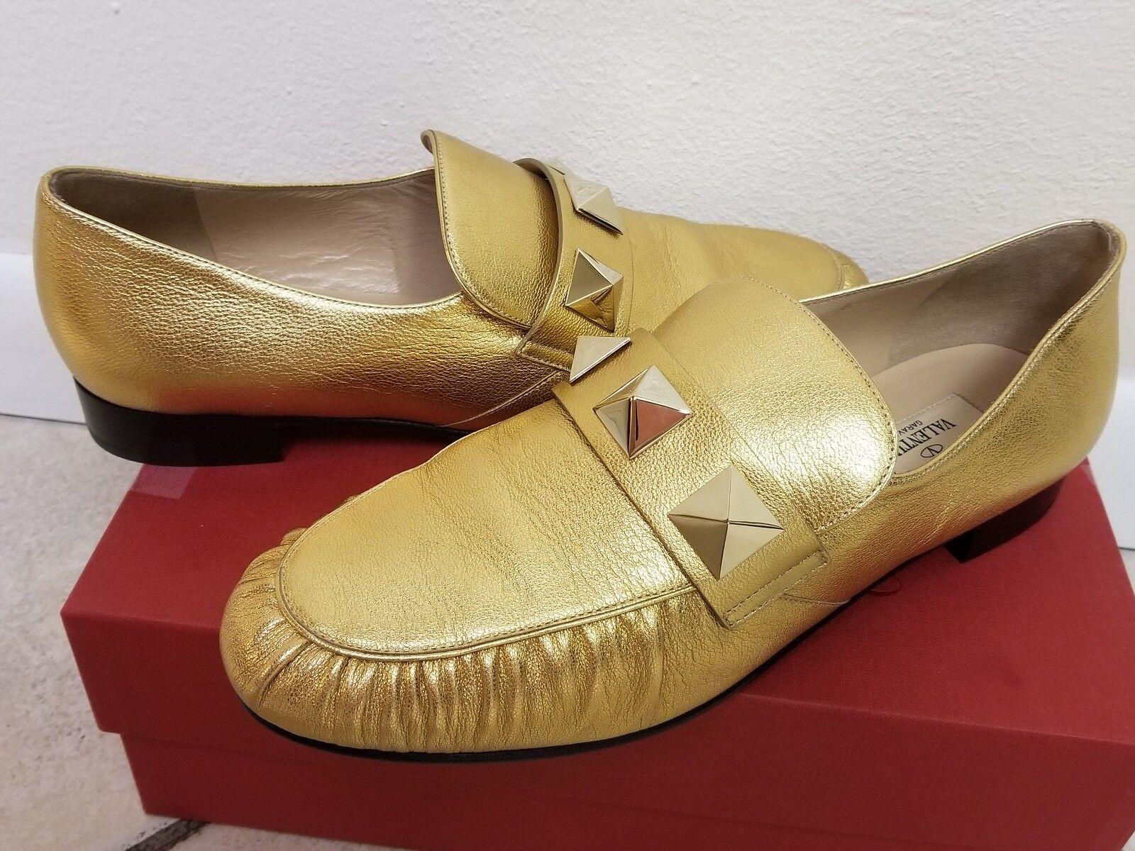 Valentino Garavani Rockstud Metallic Leather Loafer gold sz 40.5 NEW shoes