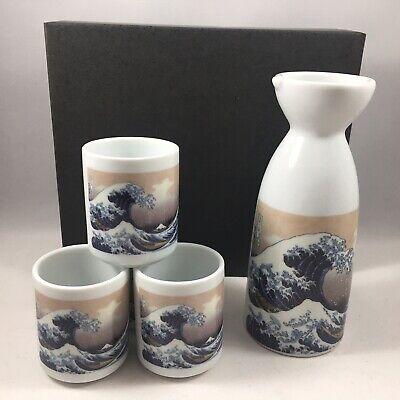 Japanese Porcelain Sake Bottle Cup Set Hiroshige Great Wave Made in Japan 5 PCS