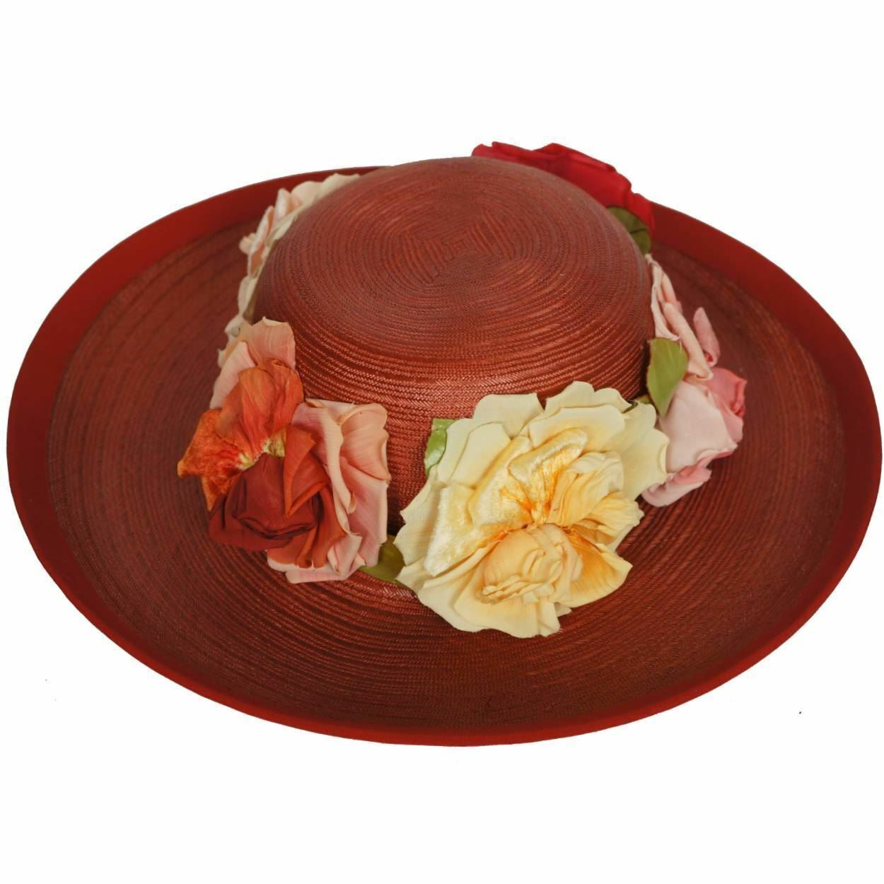 Vintage 1940s Red Straw Hat Wide Brim Flower Deco… - image 3