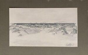 Zeichnung-Studie-Blick-von-den-Duenen-aufs-Meer-mit-Schiffen-1897-Monogramm-TF
