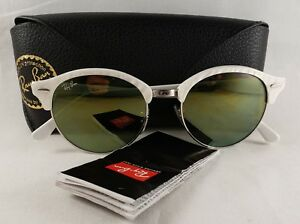 86bd3fd954e14 Authentic Ray-Ban Clubround RB 4246 988 2X Wrinkled White Sunglasses ...