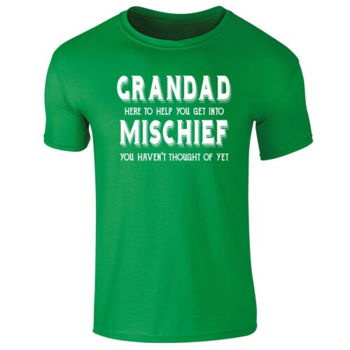 Mens Grandad Here To Help You Get Into Mischief Funny Slogan T-shirt S-XXL