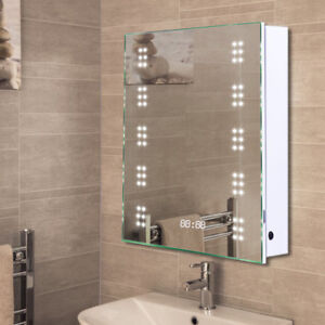 Details About Mains Powered Led Mirror Cabinet Bathroom Wall Mount Unit With Clock And Socket