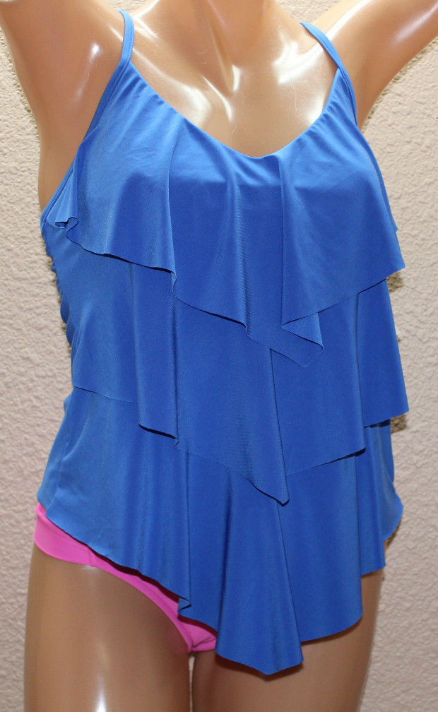 NWT Magicsuit by Miraclesuit Rita Electric bluee Tiered Tankini Top Sz 8  M10