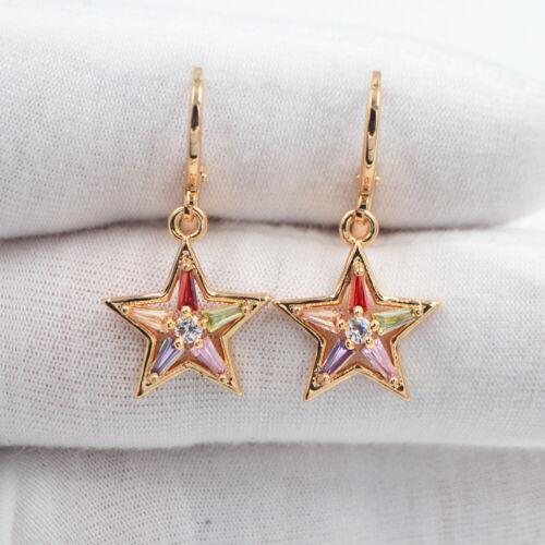 18K Yellow Gold Filled Women Rainbow Topaz Five-pointed Stars Dangle Earrings