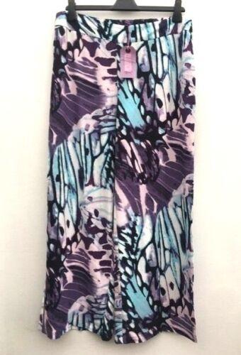 NUOVO prezzo consigliato £ 35 Donna Ex M/&S Twiggy Viola Blu Stampa Pantaloni a Gamba Larga 16S