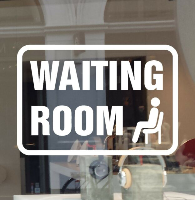 WAITING ROOM DOOR WINDOW SIGN DECAL VINYL CUT STICKER  CHAIR  ARROW  RIGHT LEFT