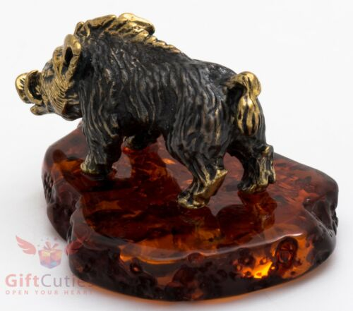 Solid Brass Amber Figurine of wild Boar pig Hog Swine IronWork