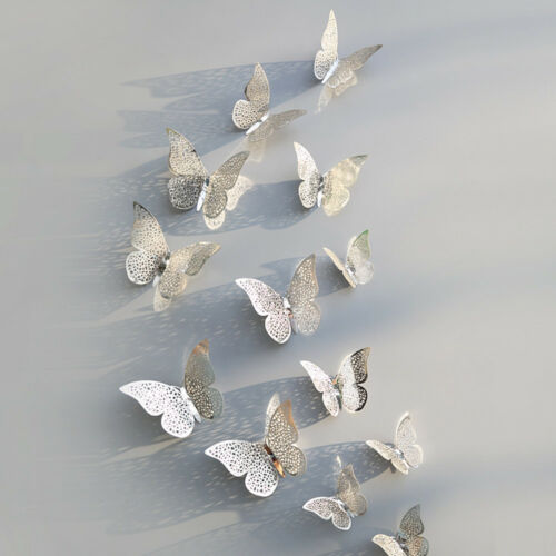 12pcs 3D Butterfly Wall Stickers Hollow Paper Decals Gold Silver Home Decoration