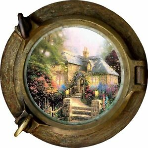 Huge-3D-Porthole-Enchanted-Cottage-View-Wall-Stickers-Mural-Decal-Wallpaper-136