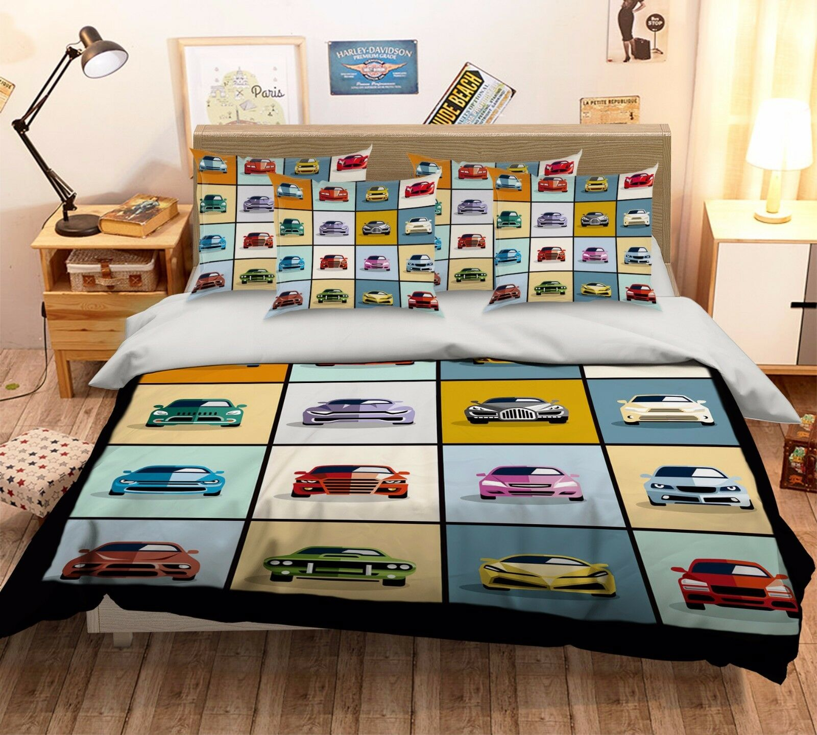 3D Hand Drawn Car Cartoon 4 Bed Pillowcases Quilt Duvet Cover Set Single Queen