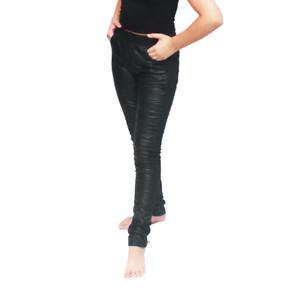 Schwarz-Kunstleder-Vorderseite-Stretchhose-Mit-Taschen-Detail