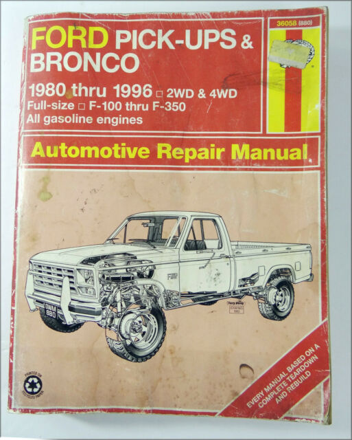 Ford Pick-Ups & Bronco Automotive Repair Manual 1980-1996 Haynes 36058 (880)