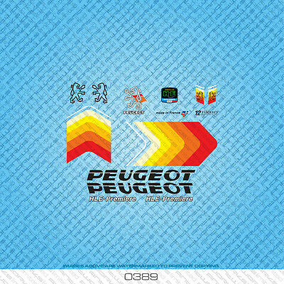 Set 583 Stickers Peugeot Premiere Bicycle Decals Blue Transfers