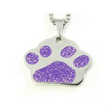Dog Purple Glitter Paw Print 316 Stainless Steel Metal Pendant Necklace