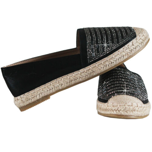 Ladies Summer Shoes Womens Espadrilles Trainers Diamante Slip On Sandals Loafers