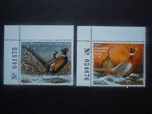 2002-03 Wisconsin Pheasant Stamps MNH OG VF