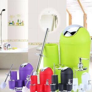 6Pcs New Bathroom Accessory Bin Soap Dish Dispenser Tumbler Toothbrush Holder