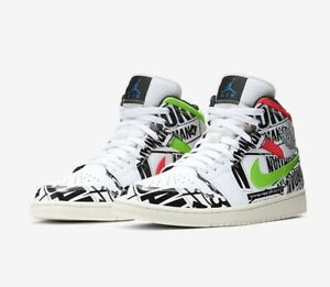 finest selection deda7 818a7 Details about Air Jordan 1 Mid Retro Logos All Over Off White Mens Size  12.5 Basketball Shoes