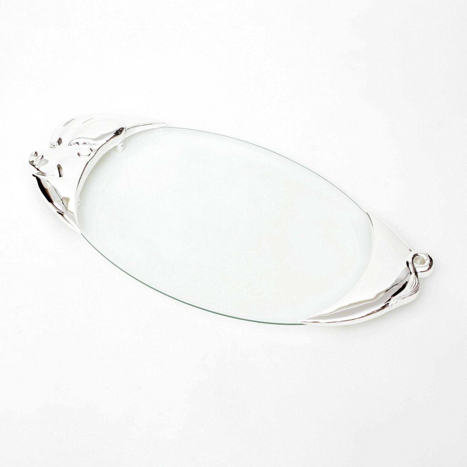 Servierplatte Glas Schweineplatte Versilbert Serieren Von Aufschnitt Tablett