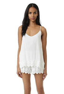 MISA LA Gaia Sexy Sleeveless Lace Gauze Romper Jumpsuit Shorts Off White XS