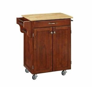 Portable kitchen island cart cherry natural wood top for Home styles natural kitchen cart with storage