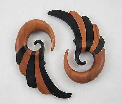 Pair Two-Tone Wood/Black Hand Carved Natural Gauge Earring Hangers Winged Plugs
