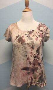 COLDWATER-CREEK-Womens-Pink-Tan-Unique-Floral-Print-Shirt-Top-Blouse-SZ-M-10-12