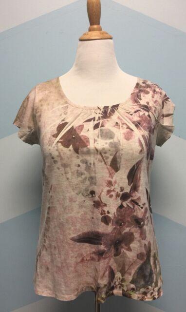 COLDWATER CREEK Womens Pink Tan Unique Floral Print Shirt Top Blouse SZ M(10-12)