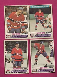 1977-78-OPC-CANADIENS-HOULE-JARVIS-LAPOINTE-NYROP-CARD-INV-A3228