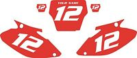 2004-2007 Honda Cr250 Custom Pre-printed Red Backgrounds With White Numbers