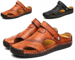 Men/'s Summer Breathable Leather Sandals Outdoor Closed Toe Fisherman Shoes Size