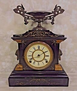 Antique Ansonia Slate Iron Case Mantel Clock La France Model