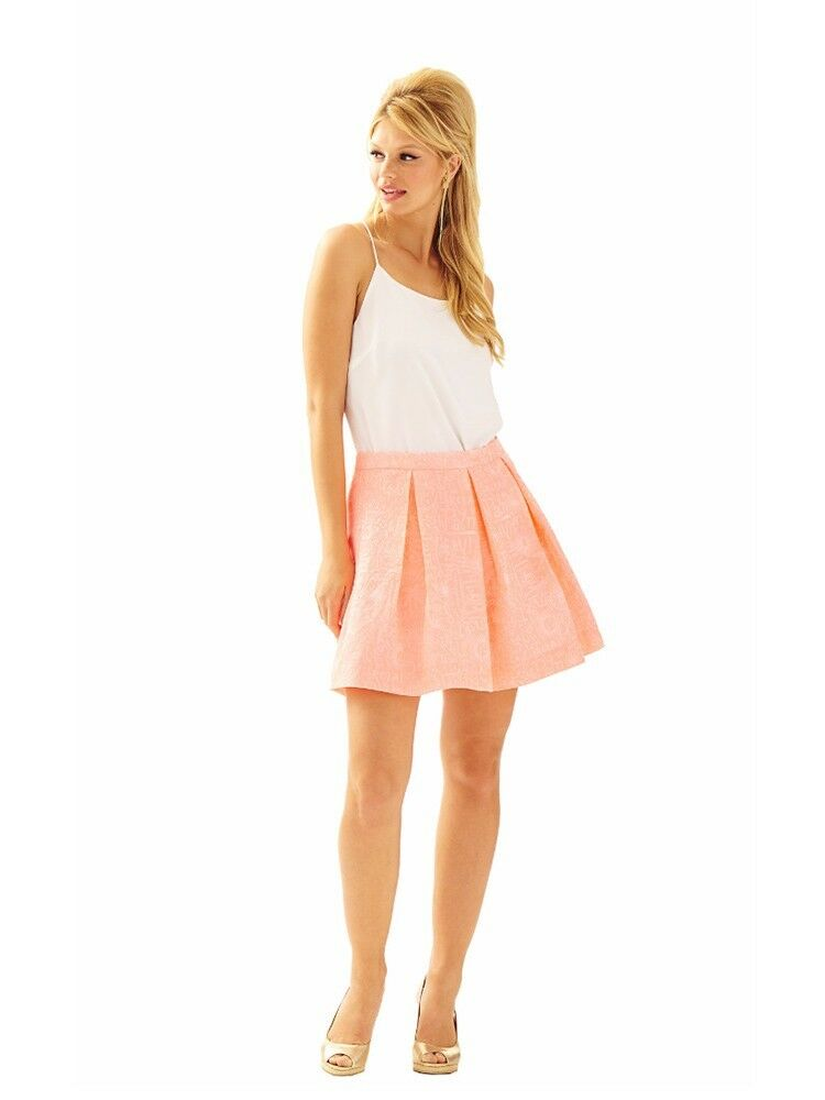 Lilly Pulitzer Harlie Skirt Peachy Pink Jacquad Pleated NWT 12  108 HTF Rare