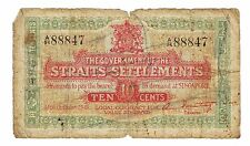 1919 Government of Straits Settlements 10 Cents Banknote P-8b RARE Singapore 10c