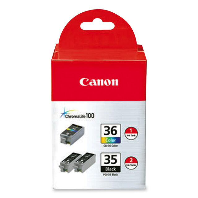 Canon Ink Cartridge 2 Black/1 Tri-Color 3/PK PGI35CLI36