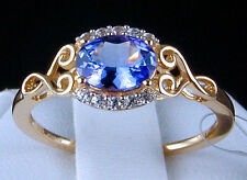 1.04ct Genuine AA Tanzanite Solitaire with Zircon Accents 10k Gold Ring, Size 7