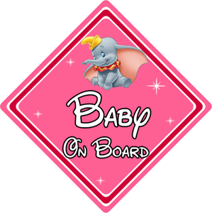 Baby On Board Dumbo Car Sign ~ Pink