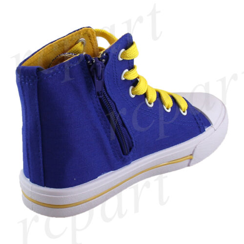New girl boys unisex kids boots lace side zipper royal blue casual canvas summer